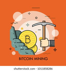 Golden bitcoin coin in rock and hand holding pickaxe. Concept of cryptocurrency mining, digital currency obtaining. Modern vector illustration in thin line style for web banner, poster, website.
