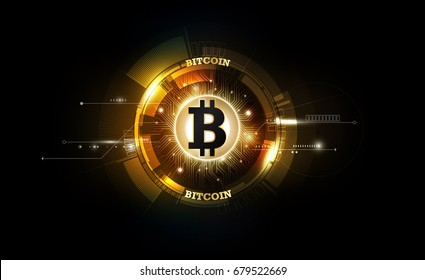Golden bitcoin digital currency, futuristic digital money, technology worldwide network concept, vector illustration