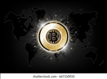 Golden bitcoin digital currency on world map, futuristic digital money, technology worldwide network concept, vector illustration