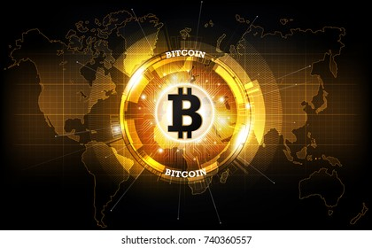 Golden bitcoin digital currency and world globe hologram, futuristic digital money and technology worldwide network concept, vector illustration