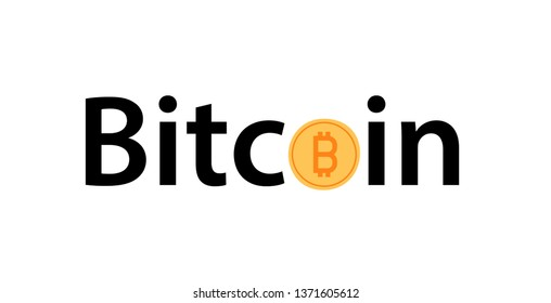 Golden Bitcoin icon isolated on white. Vector phrase image of digital cryptocurrency coin in EPS10. Style lettering illustration.