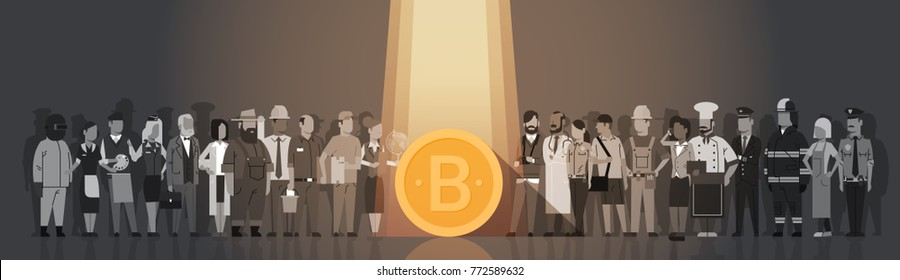 Golden Bitcoin In Spot Light Over Silhouette People Crowd Modern Web Money Digital Currency Concept Flat Vector Illustration