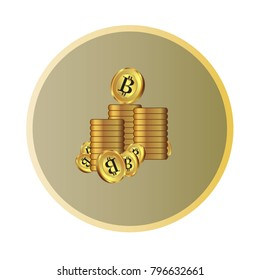 Golden bitcoin virtual money to use as a background image file includes vector Eps10.