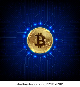 golden bitcoins digital currency and digital money and printed circuit board technology network concept vector illustration