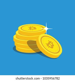 Golden Bitcoins and New Virtual money concept, 3d rendering isolated on white background. Stacks of many gold coins with icon