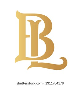 Golden BL monogram isolated in white.
