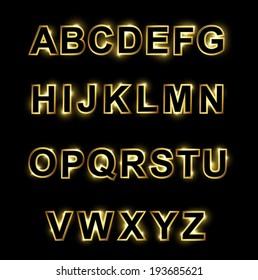 Golden and black alphabet for dark background. Vector illustration.