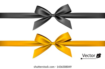 Golden, black bow with ribbon.
