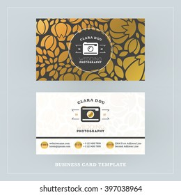 Golden and Black Business Card Design Template. Business Card for Photographer or Graphic Designer. Photo Studio Logotype Template. Vector Illustration. Stationery Design