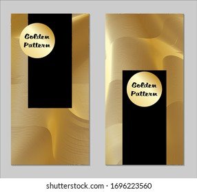 Golden and Black Covers with Form. Two Dark Vertical Covers with Gold Background.