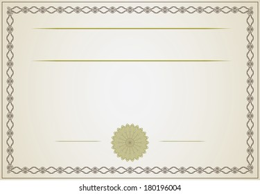 Golden blank certificate with creative frame.