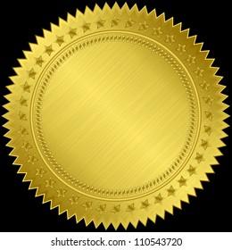 Golden blank label, vector illustration