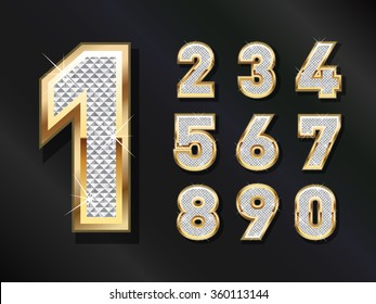 Golden Bling numbers . Vector design