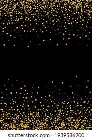 Golden Blink Foil Frame. Vector Circle Pattern. Yellow Dot Space Illustration. Vibrant Glitter Design. Gold Happy Texture.