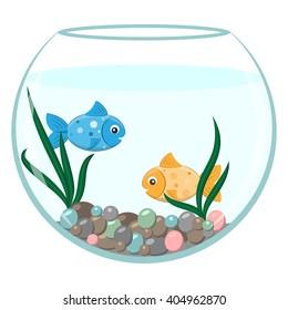 Golden and blue fish in the round aquarium