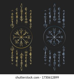Golden and blue gradien colors old ancient magic runic symbols isolated on black background