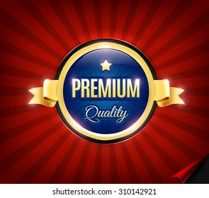 Golden and blue Premium high quality badge.