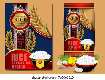 Golden and blue Rice Package Thailand food Logo Products and Fabric Background Thai Arts, banner and poster template design rice food.Golden template and rice design