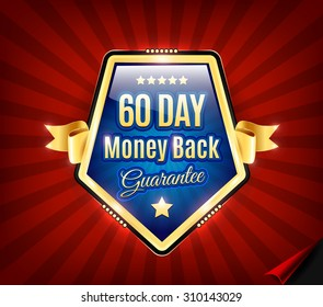 Golden and blue Sixty Day Money Back Guarantee Badge