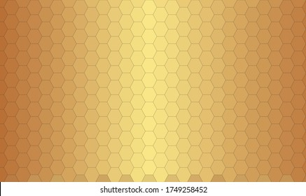 Golden blurry background with honeycomb grid. Vector Abstract Background. hex Background. Vector illustration