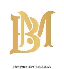Golden BM monogram isolated in white.