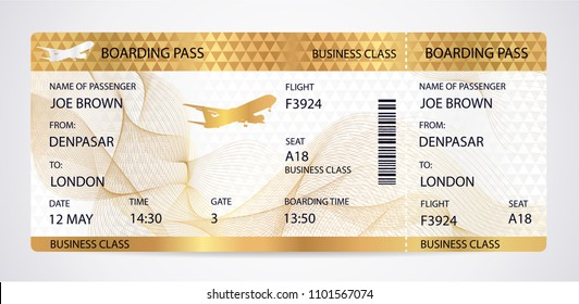 Golden Boarding pass (ticket, traveler check template) with aircraft (airplane or plane) on gold guilloche background. Travel by Aerial Transport. Vacation vip class. Isolated vector on white