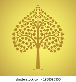 Golden bodhi tree of buddhism isolated on yellow background, vector illustration