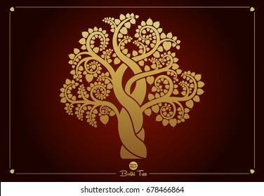 Golden Bodhi tree (Sacred tree, Ficus religiosa L.) is a symbol that uses Buddhism. vector illustration