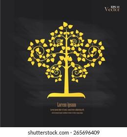 Golden Bodhi tree symbol   on chalkboard.golden tree. vector illustration