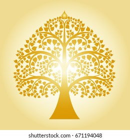 golden bodhi. tree of thai tradition, vector illustration