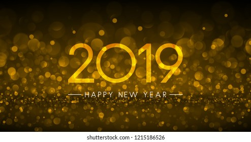 Golden bokeh 2019 Happy New Year greeting card. Vector background.
