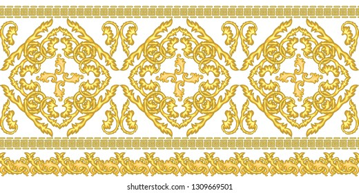 Golden border with baroque motifs. Realistic scrolls, leaves, meander other decorative elements on white background. Vintage design collection.
