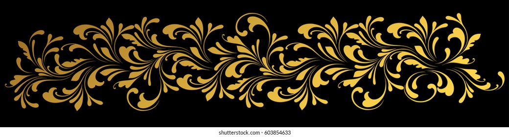 Golden border. Floral swirls and flowers. Design element.