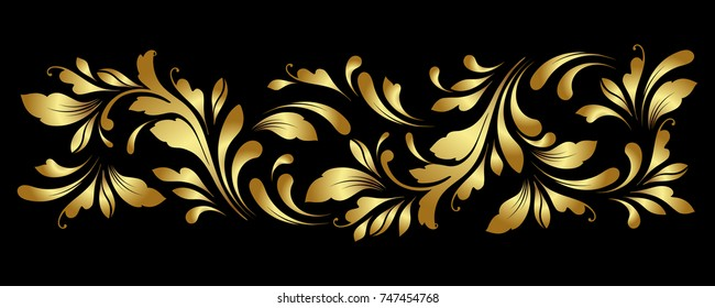 Golden border. Floral swirls and flowers.