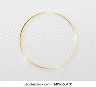 Golden border frame with light shadow and light affects. Gold decoration in minimal style. Graphic metal foil element in geometric thin line circle, round shape.
