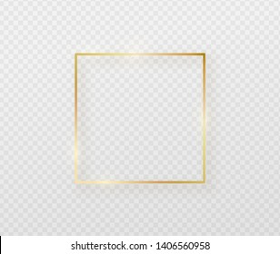 Golden border frame with light shadow and light affects. Gold decoration in minimal style. Graphic metal foil element in geometric thin line square shape.