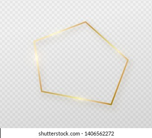 Golden border frame with light shadow and light affects. Gold decoration in minimal style. Graphic metal foil element in irregular geometric thin line polygon, pentagon shape.