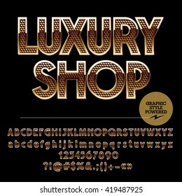 Golden border and pattern chic logotype for luxury shop. Vector set of alphabet letters, numbers and punctuation symbols
