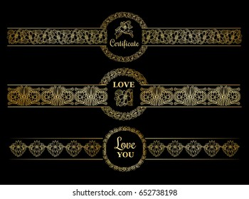 Golden borders set with gold circles on the black background. Templates for documents, certificate and wedding design or invitations