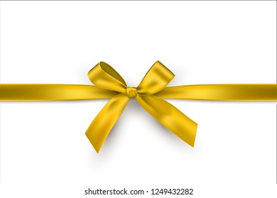 Golden bow and horizontal gold ribbon isolated on white background. Vector decorative yellow bow