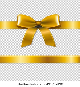 Golden Bow Isolated, Isolated on Transparent Background, With Gradient Mesh, Vector Illustration