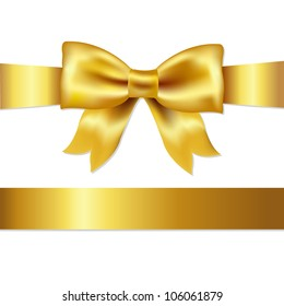 Golden Bow, Isolated On White Background, Vector Illustration