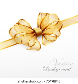 golden bow isolated on white. Vector illustration