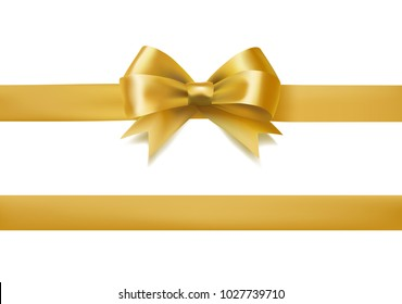golden bow knot and ribbon on white. decorative design element. vector