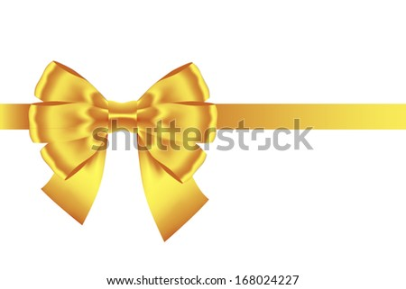 golden bow ribbon isolated on white stock vector royalty free