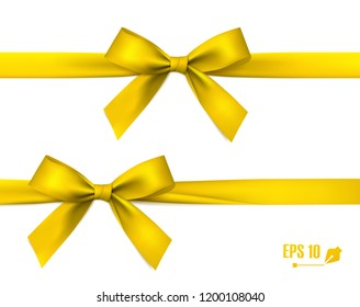 Golden Bow With Ribbon. Vector.