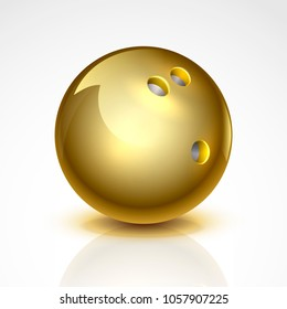 Golden bowling ball. Isolated on a white background. Vector illustration.