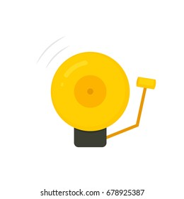 golden boxing bell icon. Vector image isolated on white background