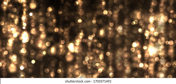 Golden bright glow bokeh. Christmas vintage lights on black background. Colorfull blurred abstract defocused . Vector