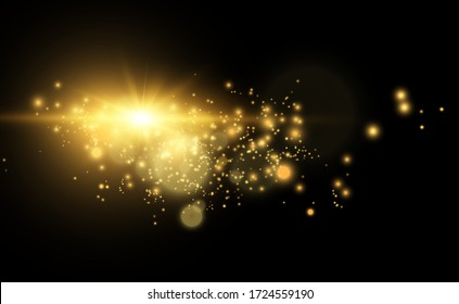 Golden bright star. Light effect bright star. Beautiful light to illustrate. Christmas star White sparks sparkle with a special light. Vector sparkles on transparent background.